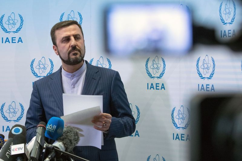 Kazem Gharib Abadi, Iran's permanent representative to the United Nations, gives a press conference after the International Atomic Energy Agency Board of Governors meeting in Vienna on July 10.