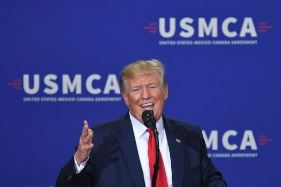 U.S. President Donald Trump speaks about the United States-Mexico-Canada trade agreement at the Derco Aerospace Inc. plant in Milwaukee on July 12.