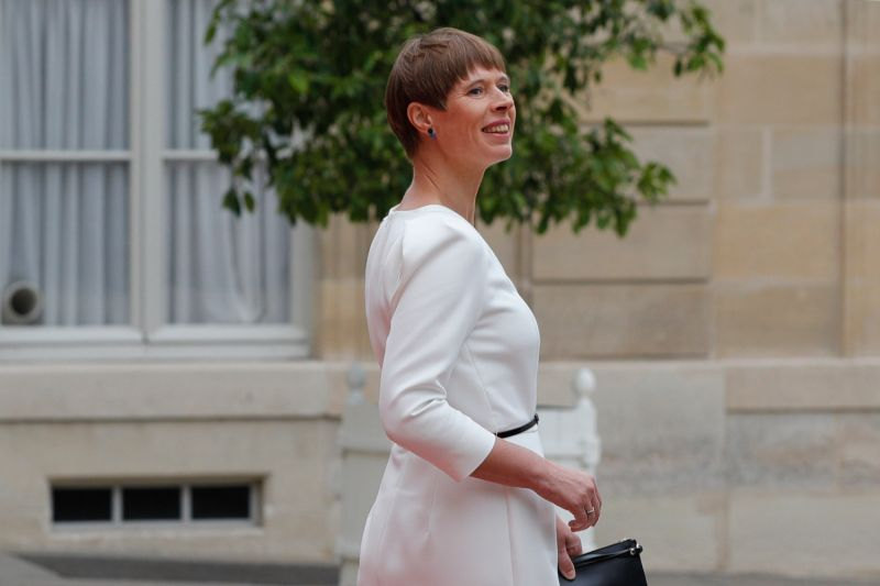 Estonian President Kersti Kaljulaid leaves the Élysée Palace after a Bastille Day working lunch during the visit of European leaders in Paris on July 14.