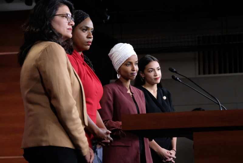 From left, U.S. Democratic Reps. Rashida Tlaib, Ayanna Pressley, Ilhan Omar, and Alexandria Ocasio-Cortez pause between answering questions during a press conference at the U.S. Capitol in Washington on July 15.