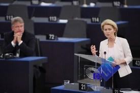Ursula von der Leyen speaks at the European Parliament in Strasbourg, France, on July 16.