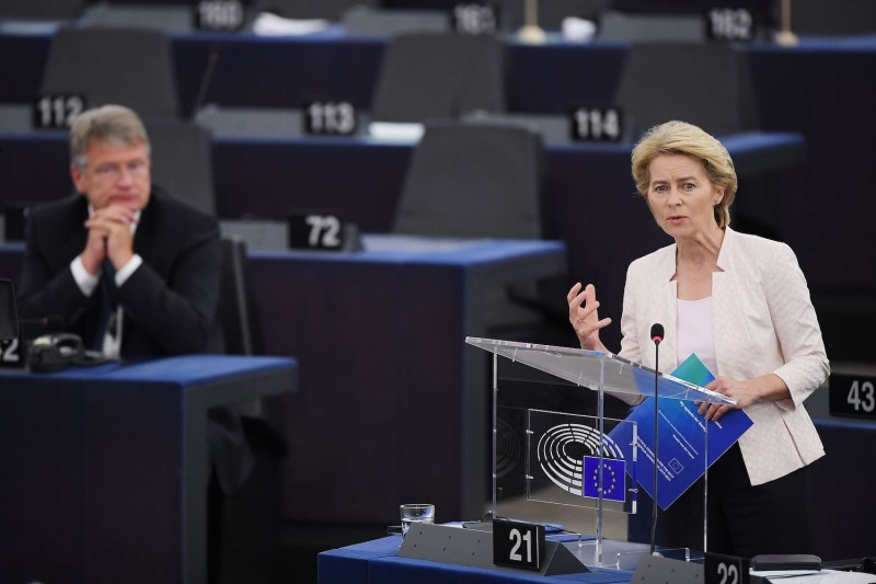 Ursula von der Leyen speaks at the European Parliament in Strasbourg, France, on July 16.