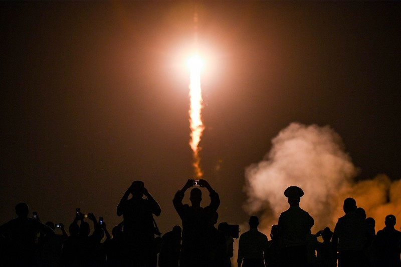 Russia's Soyuz MS-13 spacecraft blasts off for the International Space Station from the launch pad at the Russian-leased Baikonur cosmodrome in Kazakhstan on July 20. KIRILL KUDRYAVTSEV/AFP/Getty Images