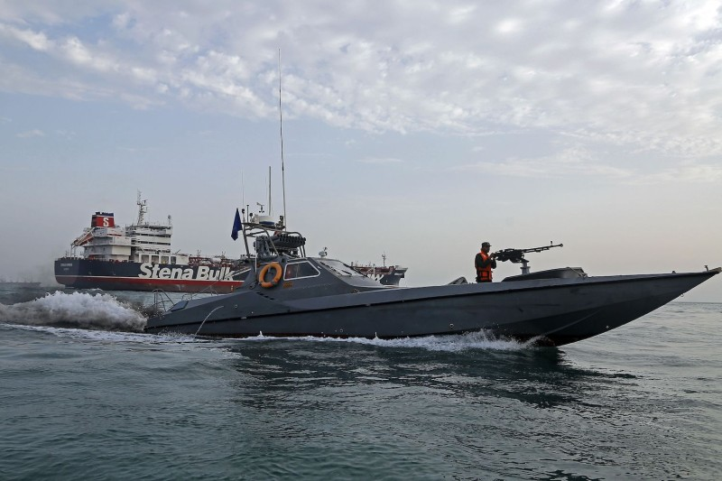 Iranian Revolutionary Guards patrol around the British-flagged tanker Stena Impero on July 21, 2019, as it's anchored off the Iranian port city of Bandar Abbas.
