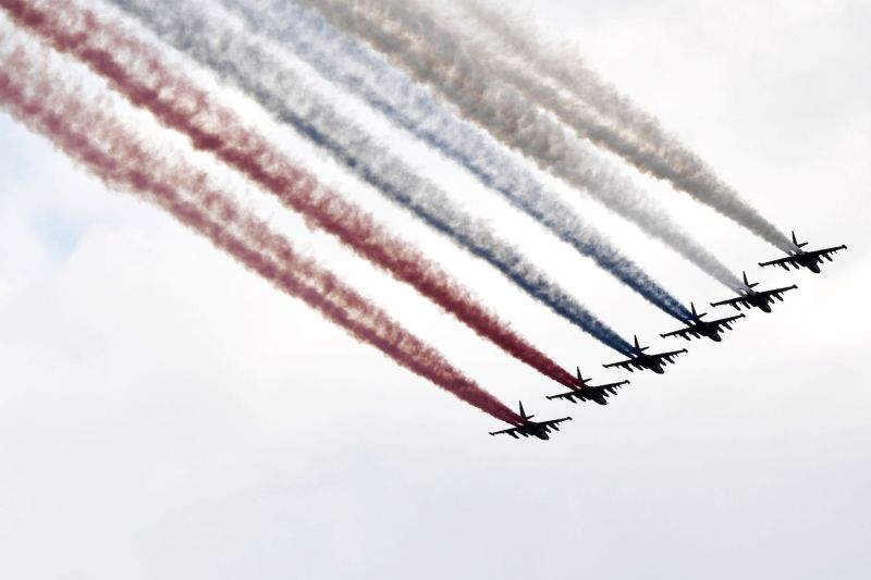 Russian Su-25 jet fighters fly during the parade of the Russian fleet as part of the Navy Day celebration, in Saint Petersburg, on July 28, 2019.