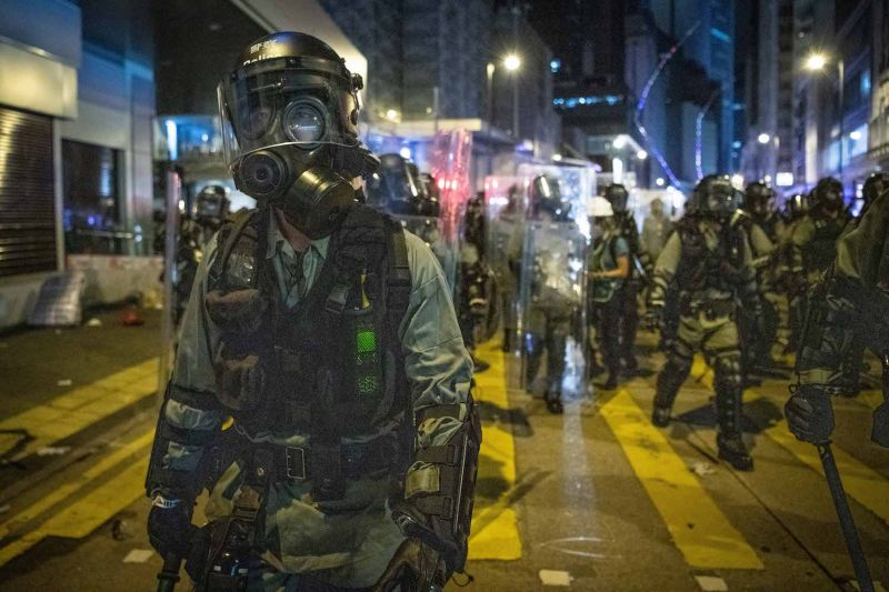 A riot police officer advances during a demonstration in Sheung Wan on July 28, 2019 in Hong Kong, China.