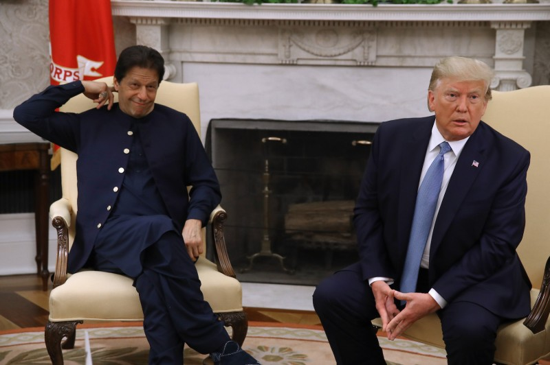 U.S. President Donald Trump speaks to the media during a meeting with Pakistani Prime Minister Imran Khan in the Oval Office at the White House in Washington on July 22.