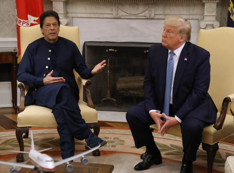 U.S. President Donald Trump and Pakistani Prime Minister Imran Khan speak to the media in the Oval Office at the White House in Washington on July 22.