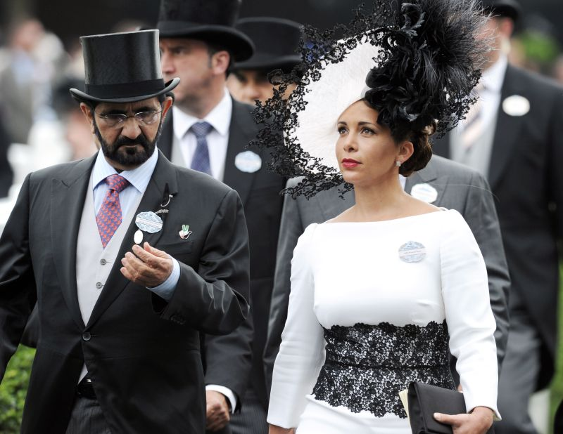 Sheikh Mohammed bin Rashid Al Maktoum and Princess Haya bint Al Hussein attend the Royal Ascot race in England on June 19, 2014.