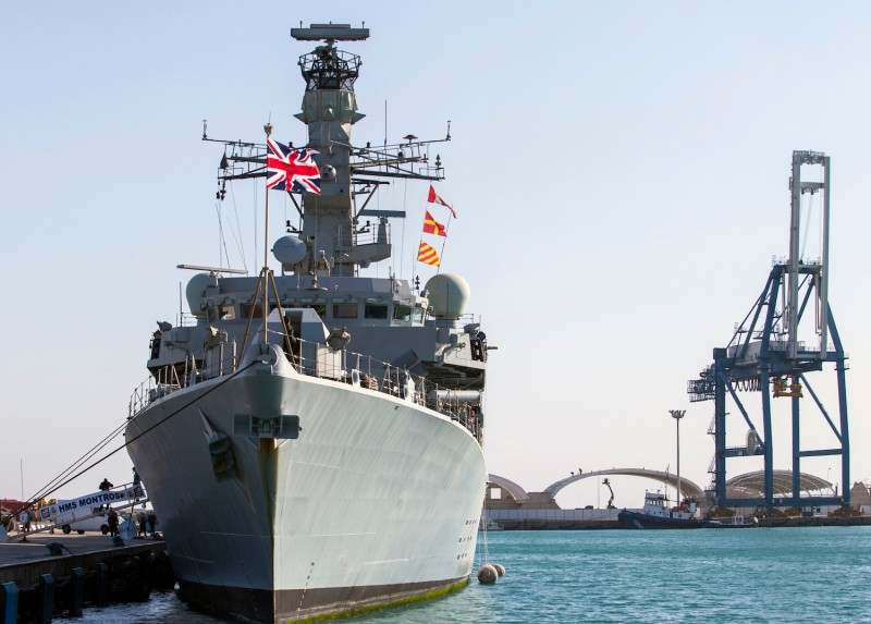 The British warship HMS Montrose is seen docked in the Cypriot port of Limassol on Feb. 3, 2014.