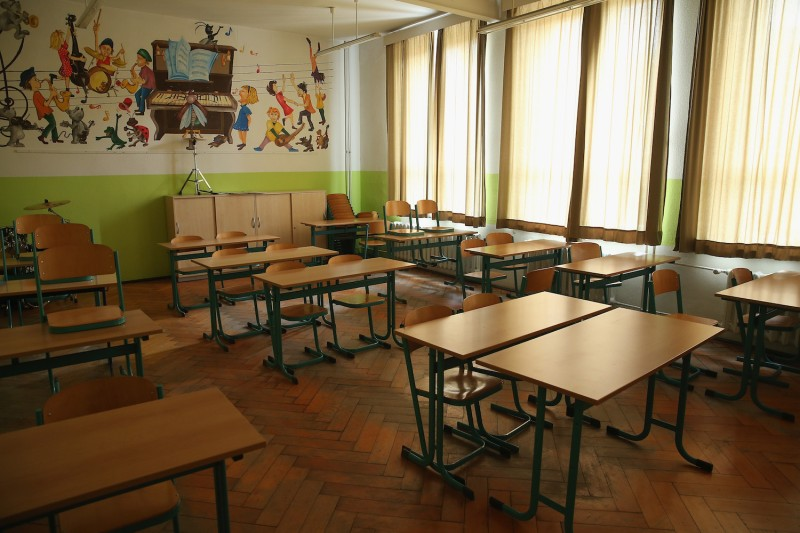 A music classroom stands empty in a middle school in Seifhennersdorf, Germany, on May 14, 2014. The state of Saxony officially closed the school after only 38 students registered.