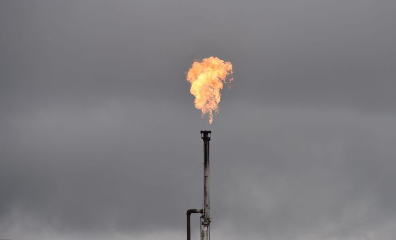 A gas flare from an oil well is seen near Williston, North Dakota, on Sept. 6, 2016.