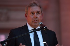 British Ambassador Kim Darroch speaks to guests at the ambassador's residence in Washington, D.C., on April 28, 2017.