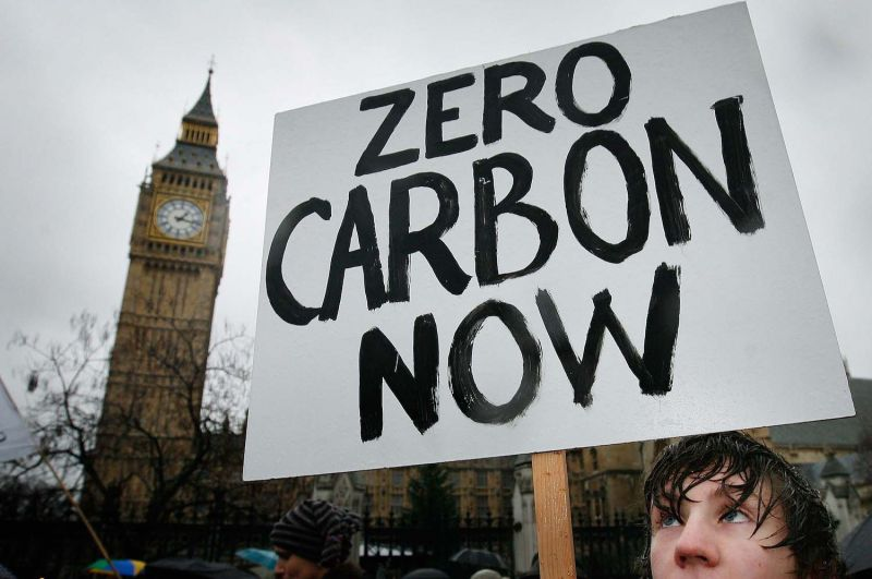 A climate change protester walks near Parliament in London on Dec. 8, 2007.