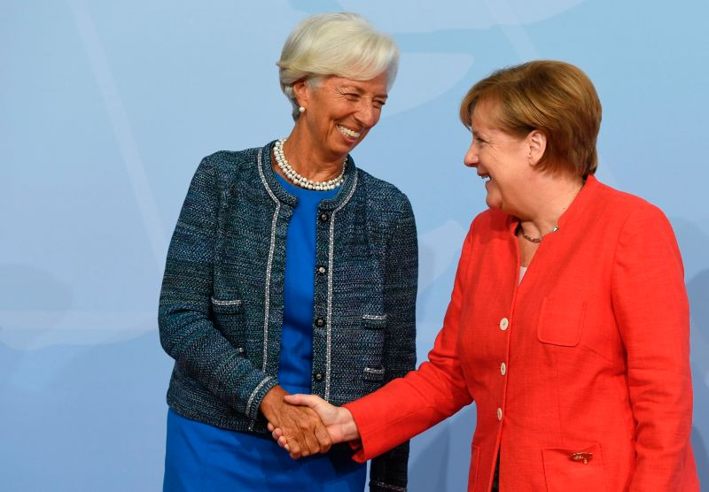 German Chancellor Angela Merkel welcomes Managing Director of the International Monetary Fund (IMF) Christine Lagarde as she arrives to attend the G20 summit in Hamburg, northern Germany, on July 7, 2017.