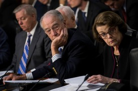 Sen. Chuck Grassley, the chairman of the Senate Judiciary Committee, and ranking member Sen. Dianne Feinstein listen to testimony during a committee hearing on the Foreign Agents Registration Act on July 26, 2017.