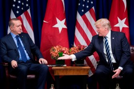 U.S. President Donald Trump reaches to shake Turkish President Recep Tayyip Erdogan's hand before a meeting at the Palace Hotel during the 72nd United Nations General Assembly in New York City on Sept. 21, 2017.