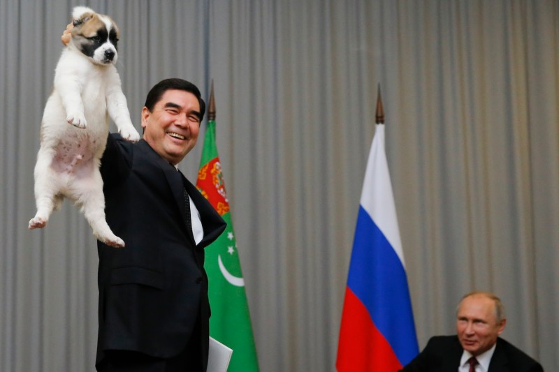 Turkmen President Gurbanguly Berdimuhamedov presents a Alabai shepherd dog to his Russian counterpart, Vladimir Putin, during a meeting in Sochi, Russia, on Oct. 11, 2017.