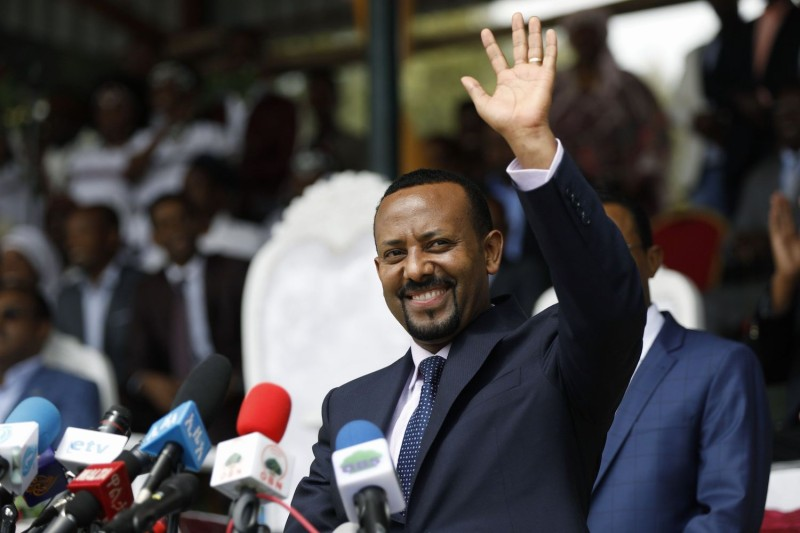 Ethiopian Prime Minister Abiy Ahmed attends a rally in Ambo, Ethiopia, on April 11, 2018.