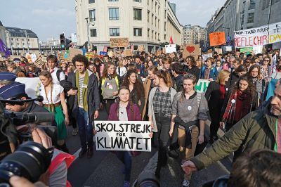 Greta Thunberg attends the Youth for Climate march in Brussels on Feb. 21.  Sylvain Lefevre/Getty Images