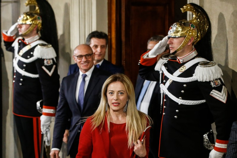 "Giorgia Meloni, the leader of the far-right party ""Fratelli d'Italia,""  leaves after a meeting with Italian President Sergio Mattarella on the first day of consultations of political parties, on April 4, 2018 at the Quirinale Palace in Rome."
