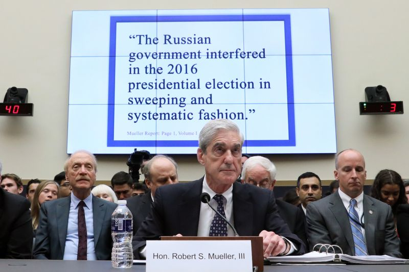 Former special counsel Robert Mueller testifies before a House Judiciary Committee hearing on the Office of Special Counsel's investigation into Russian interference in the 2016 presidential election on Capitol Hill in Washington on July 24.