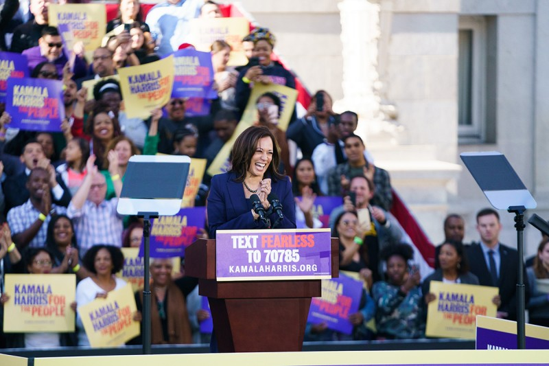 U.S. Senator Kamala Harris launches her presidential campaign in Oakland, California, on Jan. 27.