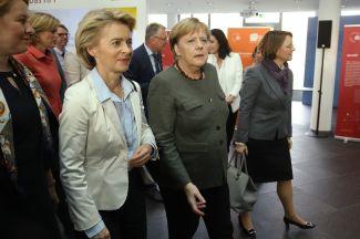 German Chancellor Angela Merkel (C), Defense Minister Ursula von der Leyen (L) attend a cabinet retreat on November 14, 2018 in Potsdam, Germany.