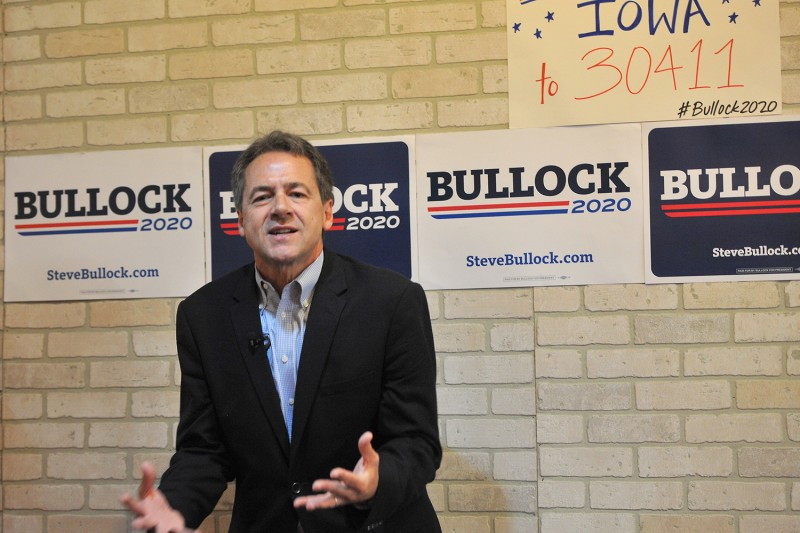 Montana Gov. Steve Bullock speaks during a campaign stop at a coffee shop in Newton, Iowa, on May 17.
