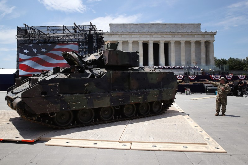 "Members of the U.S. Army park an M1 Abrams tank in front of the Lincoln Memorial on July 3 ahead of the Fourth of July ""Salute to America"" celebration."