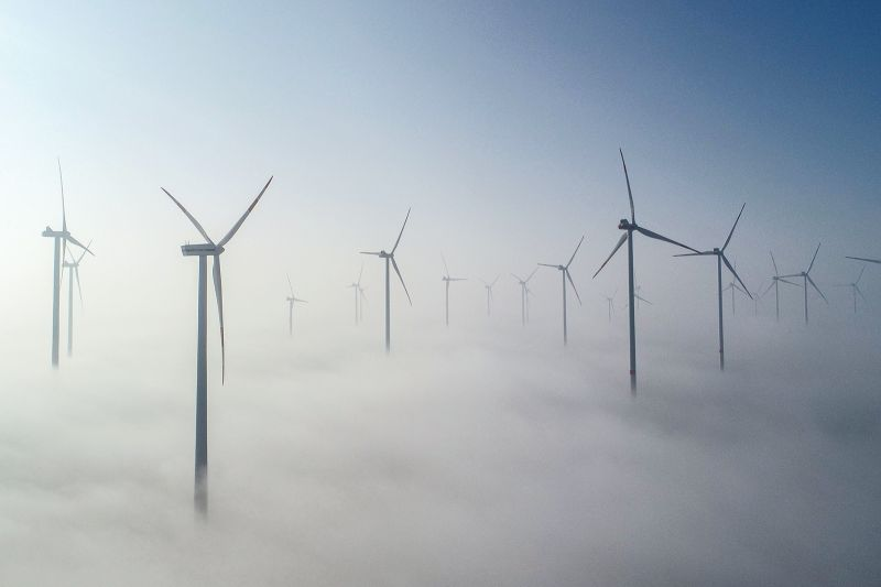 A wind farm in Jacobsdorf, Germany, on Feb. 27. PATRICK PLEUL/AFP/Getty Images