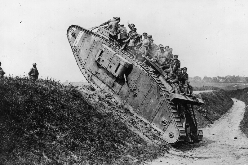 British soldiers on a Mark IV tank in 1918.