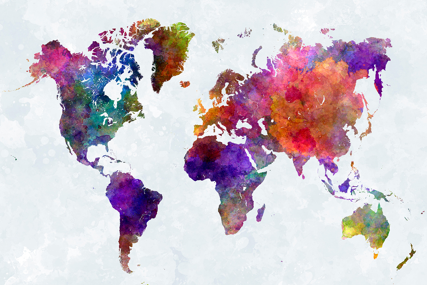EWNJN6 World map in watercolor painting abstract splatters