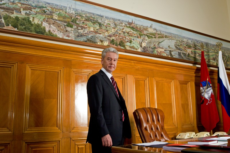 A picture taken on October 24, 2010 and released on October 28, 2010 shows Moscow Mayor Sergei Sobyanin posing at his office in the Russian capital.
