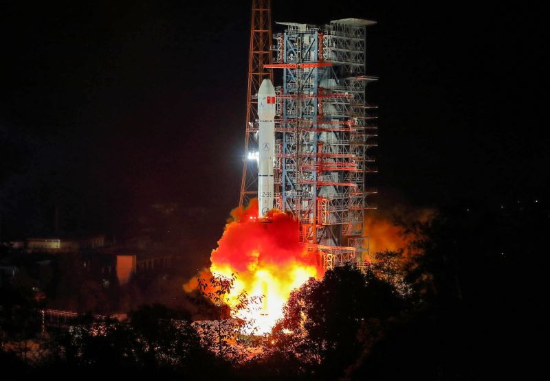 A rocket lifts off from the Xichang launch center in China's southwestern Sichuan province on Dec. 8, 2018.