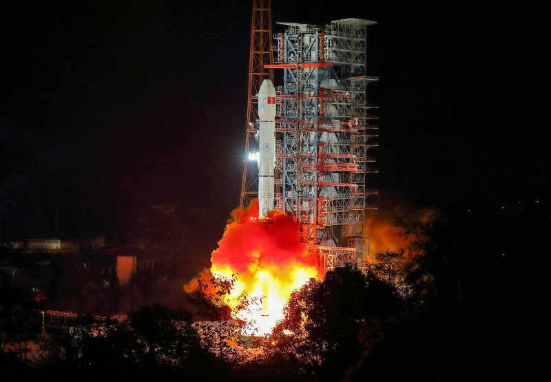 A Long March 3B rocket lifts off from the Xichang launch centre in China's southwestern Sichuan province early on December 8, 2018.