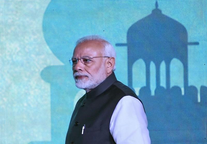 Indian Prime Minister Narendra Modi arrives at a conference in New Delhi on Jan. 8.