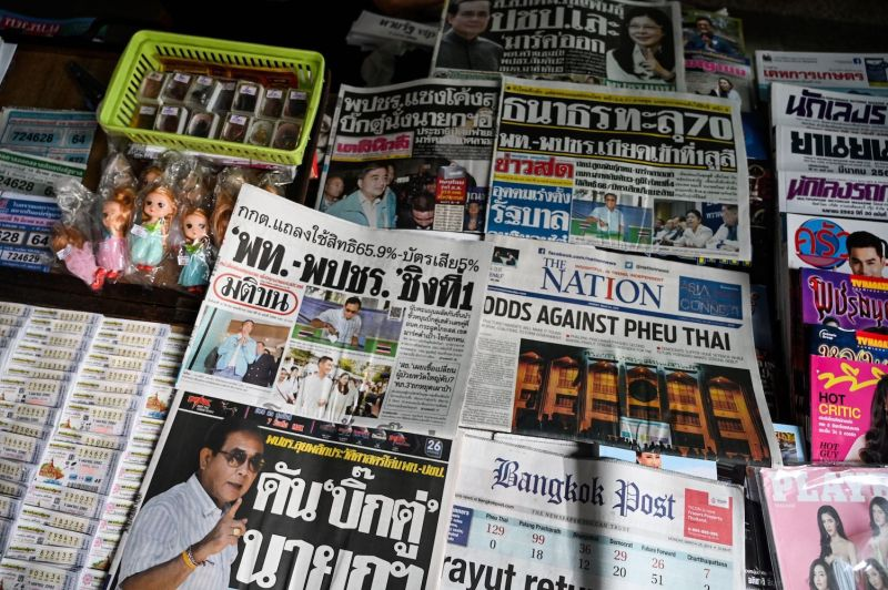 Newspapers on a newsstand in Bangkok on March 25, 2019.