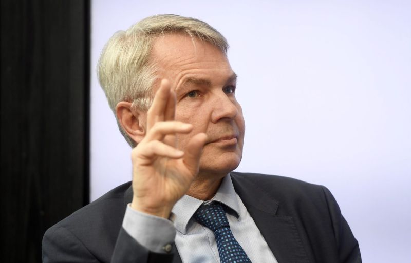 Pekka Haavisto, then-chairman of the Finnish Greens, at a parliamentary election debate in Helsinki on April 9.