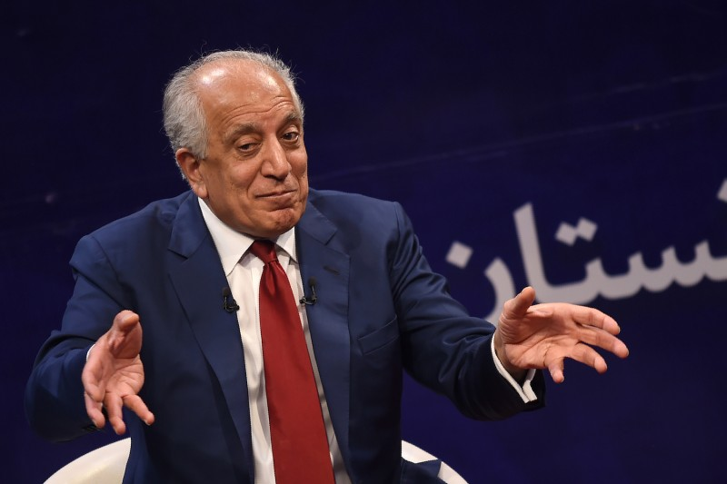 Zalmay Khalilzad, the U.S. special representative for Afghan peace and reconciliation, gestures as he speaks during a forum talk with the director of TOLO news, Lotfullah Najafizada, at the Tolo TV station in Kabul on April 28, 2019.