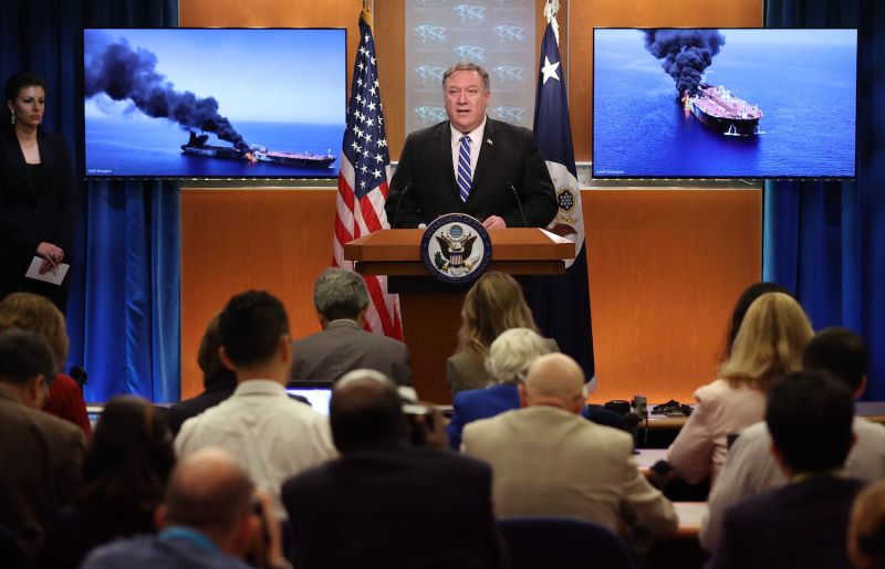 U.S. Secretary of State Mike Pompeo speaks about attacks on oil tankers in the Gulf of Oman that the United States blamed on Iran in Washington on June 13, 2019.