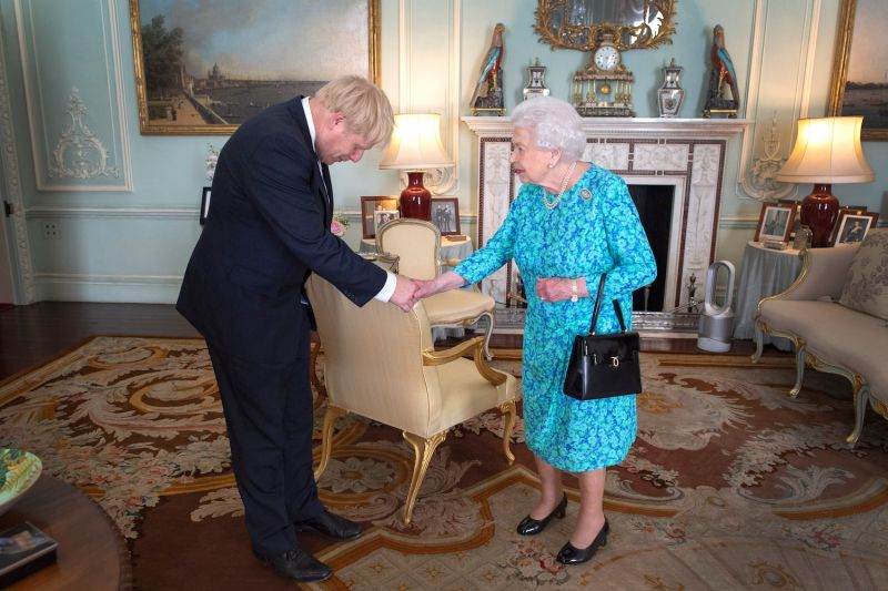 Queen Elizabeth II welcomes the newly elected leader of the Conservative party, Boris Johnson on July 24, 2019 in London, England.