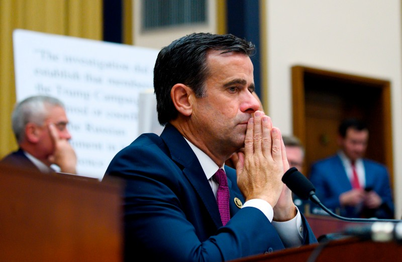 Representative John Ratcliffe, Republican of Texas, listens as former Special Counsel Robert Mueller testifies in Washington, DC, on  July 24, 2019.