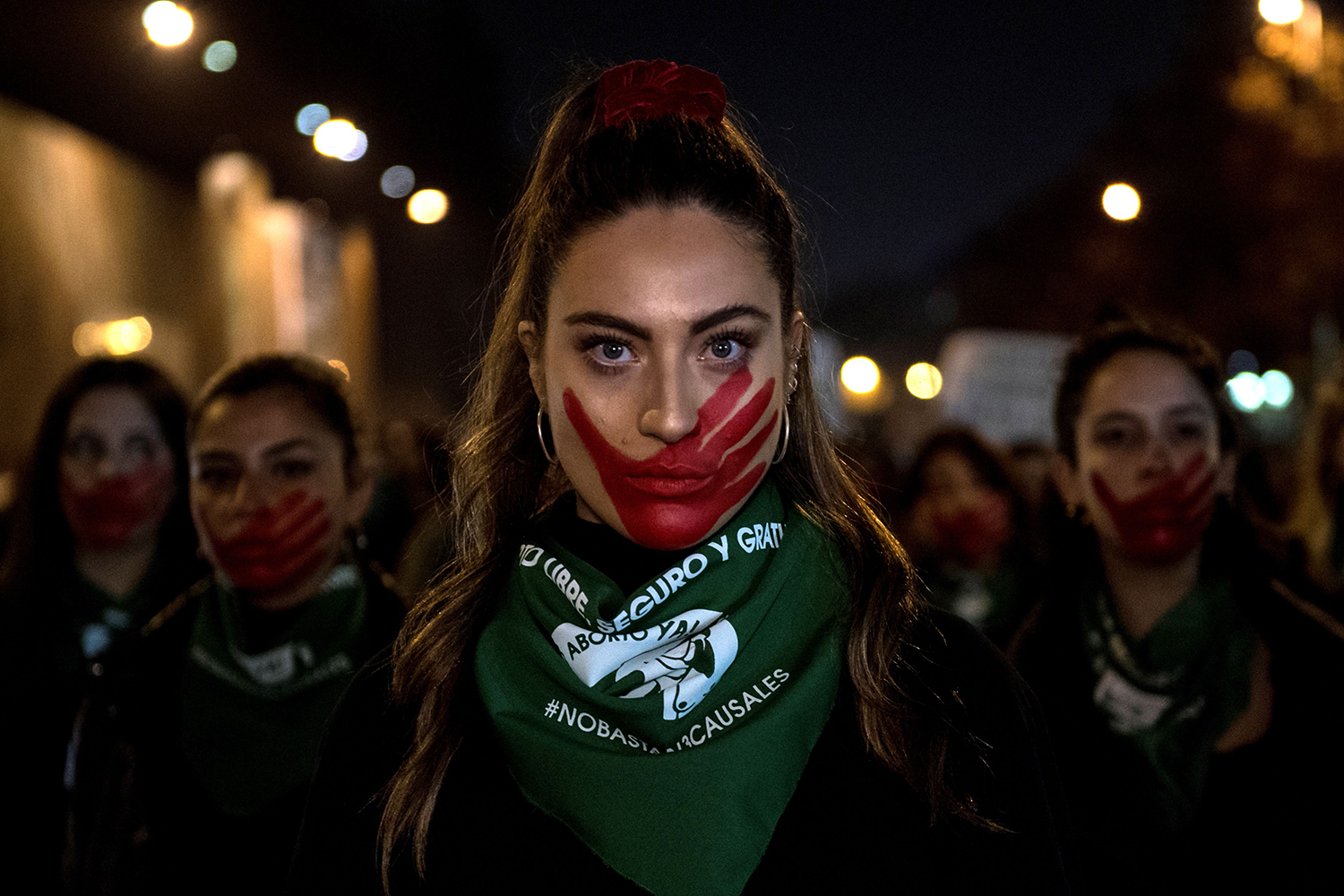 Activists march during a demonstration in favor of free abortion in Santiago, Chile, on July 25. MARTIN BERNETTI/AFP/Getty Images