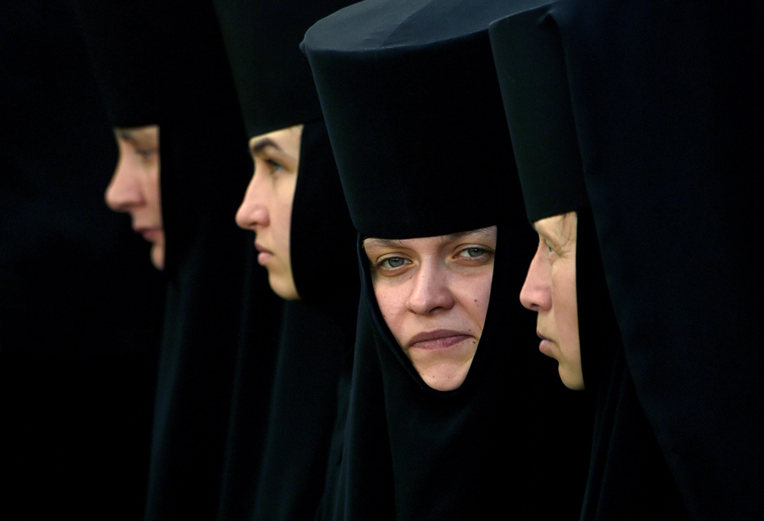 Orthodox nuns take part in a religious procession in Kiev on July 27. SERGEI SUPINSKY/AFP/Getty Images