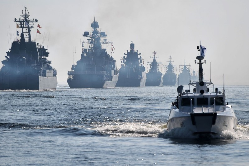 Russian navy warships sail during the parade of the Russian fleet as part of the Navy Day celebration in St. Petersburg on July 28.