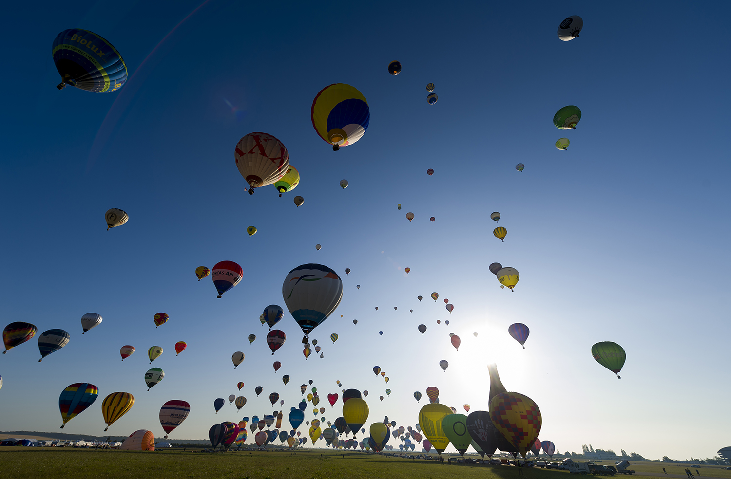 More than 400 hot air balloons take off from the Chambley-Bussieres airbase in eastern France during a failed attempt to break the simultaneous air-balloon takeoff world record on July 29. JEAN-CHRISTOPHE VERHAEGEN/AFP/Getty Images