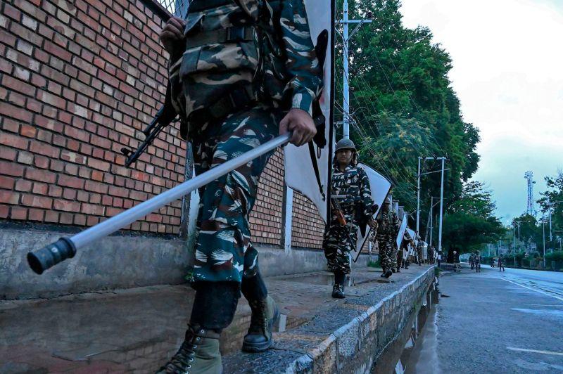 Security personnel patrol during a lockdown in Srinagar, Kashmir, on Aug. 10.