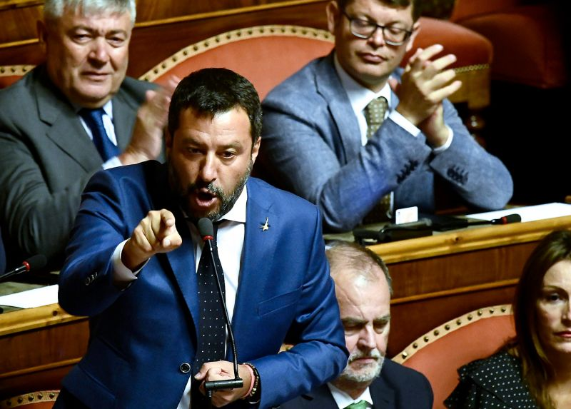 Italian Deputy Prime Minister and leader of the  League party Matteo Salvini gestures while speaking at the upper house in Rome's Palazzo Madama on August 13.