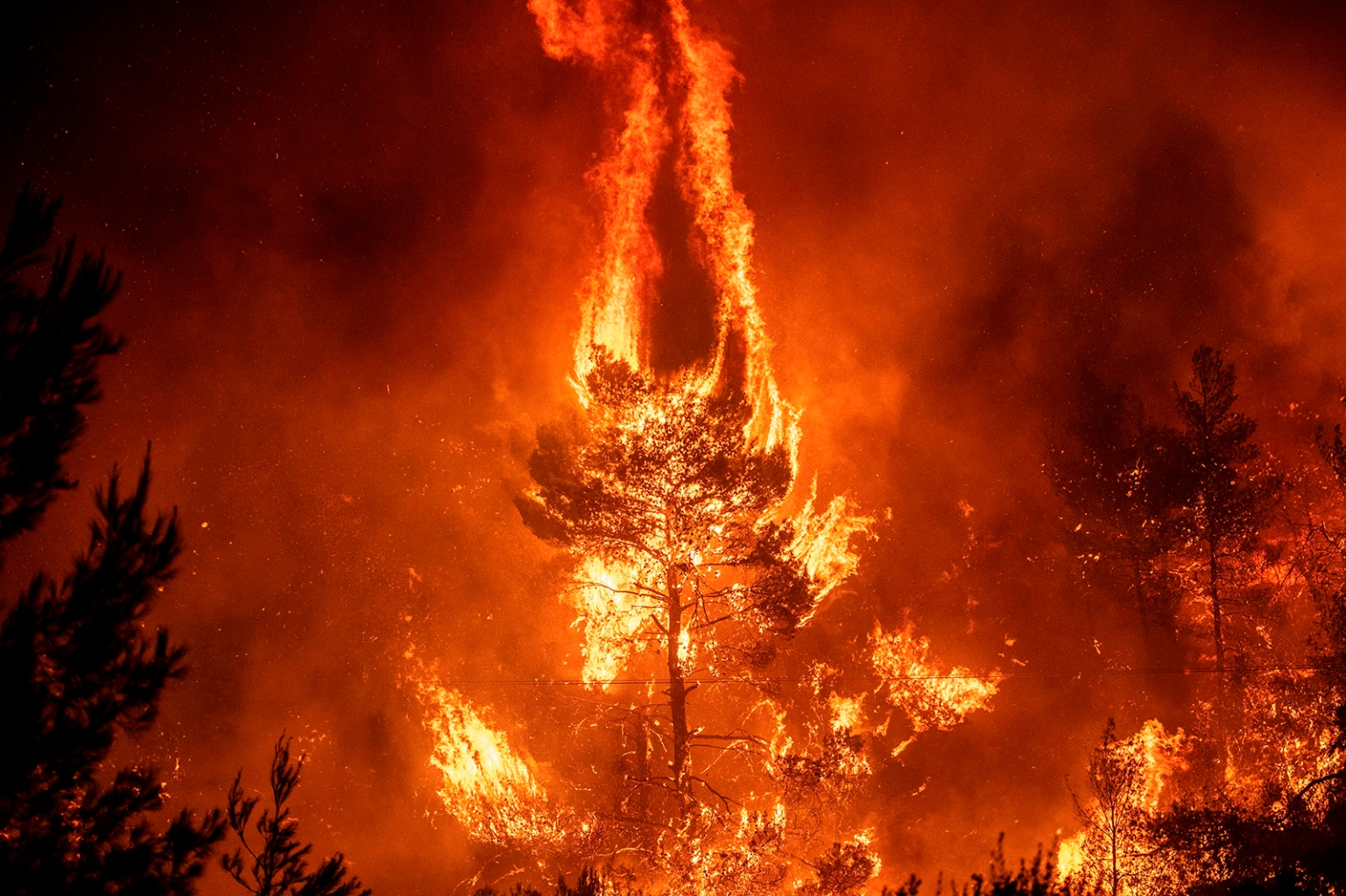 Flames rise from a forest fire near the village of Makrimalli on the island of Evia, northeast of Athens, on Aug. 13. Hundreds of villagers were evacuated as scores of firefighters battled a major wildfire on the country's second-largest island of Evia. ANGELOS TZORTZINIS/AFP/Getty Images